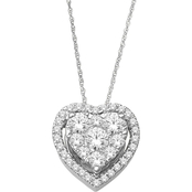 14K White Gold 1/3 CTW Diamond Imperial Heart Pendant