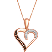 10K Rose Gold Cognac and White Diamond Accent Heart Pendant