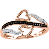 10K Rose Gold 1/10 CTW Cognac and White Diamond Heart Ring