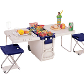 Travelers Club Multifunction Rolling Cooler/Table with 2 Chairs