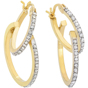 18K Yellow Gold over Sterling Silver Diamond Accent Double Hoop Earrings