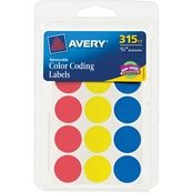 Avery Assorted Color Coding Labels .75 in. Round, 315 pk.