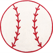 C&F Home Baseball 3 ft. Round Hooked Rug