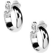 Anne Klein Silvertone Medium Hoop Clip On Earrings