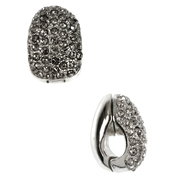 Anne Klein Silvertone Crystal Hoop Earrings