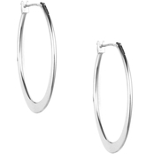 Anne Klein Silvertone Large Oval Hoop Earrings