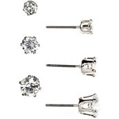 Anne Klein Silvertone Crystal Cubic Zirconia Earrings 3 pc. Set