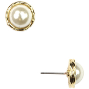Anne Klein Goldtone Small Twisted Frame Pearl Stud Earrings
