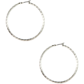 Anne Klein Silvertone Large Click It Hoop Earrings