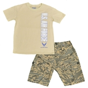Trooper Clothing Little Boys/Boys 2 Pc. Air Force Shirt and Camouflage Shorts Set
