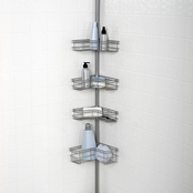 Zenith Products Tension Mount Steel Shower Pole Caddy in Satin Nickel