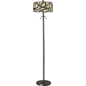 Dale Tiffany 61 in. Willow Cottage Tiffany Style 2 Light Floor Lamp