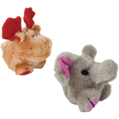 Petmate Zoobilee Squatters Moose and Elephant Plush Dog Toys, Small