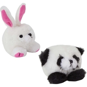 Petmate Zoobilee Squatters Panda and Rabbit Plush Dog Toys, Small