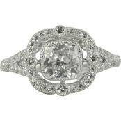 Sterling Silver Ornate Cubic Zirconia Ring