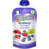 Gerber Graduates Grabbers Very Berry Fruit and Yogurt 4.23 oz. Squeezable Pouch