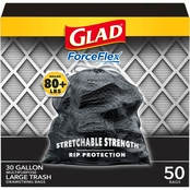 Glad ForceFlex Trash Drawstring Black Bags 30 Gallon 50 Pk.