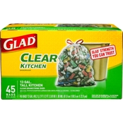 Glad Recycling Tall Kitchen Clear Drawstring Trash Bags 13 Gallon 45 ct.