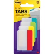 Post-it Durable Filing Index Tabs, 2 in. X 1.5 in. Assorted Color 24 Pk.