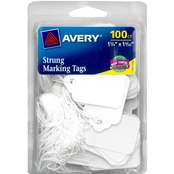 Avery White Marking Tags, Strung, 100 pk.