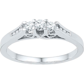 14K White Gold 1/4 CTW 3 Stone Diamond Ring