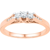 14K Pink Gold 1/4 CTW 3 Stone Diamond Ring