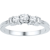 10K White Gold 1/2 CTW 3 Stone Diamond Ring