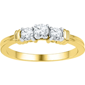 10K Yellow Gold 1/2 CTW 3 Stone Diamond Ring