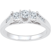 14K White Gold 1 CTW 3 Stone Plus Diamond Ring