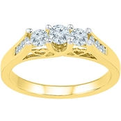 14K Yellow Gold 1 CTW 3 Stone Plus Diamond Ring