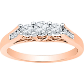 14K Pink Gold 1 CTW 3 Stone Plus Diamond Ring