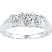 14K White Gold 1 CTW 3 Stone Princess Cut Diamond Ring