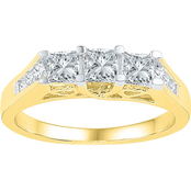 14K Yellow Gold 1 CTW 3 Stone Princess Cut Diamond Ring