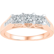 14K Pink Gold 1 CTW 3 Stone Princess Cut Diamond Ring