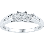 14K White Gold 1/2 CTW 3 Stone Princess Cut Diamond Ring
