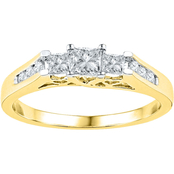 14K Yellow Gold 1/2 CTW 3 Stone Princess Cut Diamond Ring