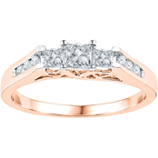 14K Pink Gold 1/2 CTW 3 Stone Princess Cut Diamond Ring
