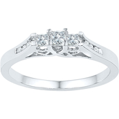 10K White Gold 1/4 CTW 3 Stone Diamond Ring