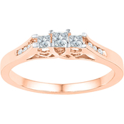 10K Pink Gold 1/4 CTW 3 Stone Diamond Ring