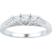 14K White Gold 1/2 CTW 3 Stone Plus Diamond Ring