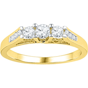 14K Yellow Gold 1/2 CTW 3 Stone Plus Diamond Ring
