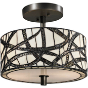 Dale Tiffany Willow Cottage Tiffany Semi Flush Mount Light Fixture Kit