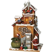 Roman Musical Light Up Santa's Workshop Decoration