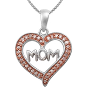 Sterling Silver and Pink Rhodium 1/8 CTW Diamond Heart Pendant