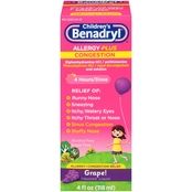 Benadryl-D Children's Allergy & Sinus Grape Flavor Liquid 4 Oz.