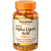 Sundown Naturals Super Alpha Lipolic Acid 600 mg Capsules 60 Pk.