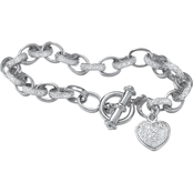 PalmBeach Platinum Over Sterling Silver Diamond Accent Heart Charm Bracelet