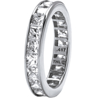 PalmBeach 10K White Gold Princess Cut Cubic Zirconia Eternity Band