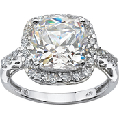 PalmBeach 10K White Gold Princess Cut Halo Cubic Zirconia Ring