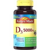 Nature Made Vitamin D3 5000 IU Liquid Softgels 90 Ct.